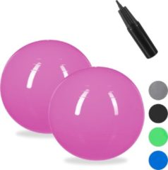 Relaxdays 2x fitnessbal 85 cm - gymbal - zitbal - yogabal - pilatesbal - kantoor - roze