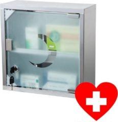 Zilveren RVS Medicijnkastje met Slot & Magnetische deur - Medicijnkast afsluitbaar groot met 2 opbergvakjes - Medicijn Kast met 2 Sleutels - Medicijnkastjes - Medicijndoos / Medicijnbox Hangkast - Badkamerkast - Afm. 30 x 12 x 30 Cm - Decopatent®