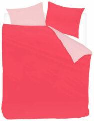 Snoozing Two Tone - Flanel - Dekbedovertrek - Lits-jumeaux - 240x200/220 cm + 2 kussenslopen 60x70 cm - Fuchsia/Roze