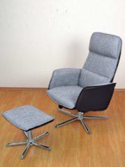 Sessel mit passendem Hocker grau