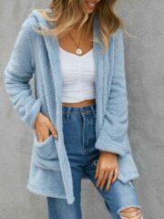 Marineblauwe YOINS Solid Color Pocket Hooded Plush Cardigan