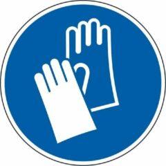 Blauwe ESVSHOP.nl Gebodsbord 'Veiligheidshandschoenen dragen', ISO 7010 Ø 300 mm