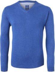 Redmond heren trui katoen - V-hals - jeans-blauw - Maat XXL