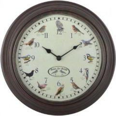 Bronze Esschert design - Klok met vogelgeluiden bruin- 30x30x4cm