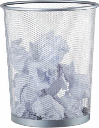 Relaxdays Prullenbak Metaal Papierbak Geperforeerde Mand Prullenmand Kantoor 20 L Zilver Kopen