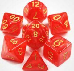 Merkloos / Sans marque KELERINO. Dobbelstenen voor Dungeons & Dragons - Polydice - Marmer - 7 Delige Set - Rood / Goud