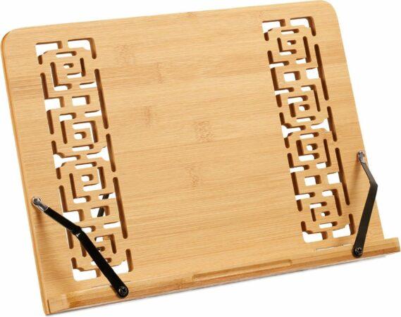 Afbeelding van Relaxdays kookboekstandaard - bamboe - kookboekhouder - opvouwbaar - verstelbaar