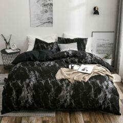 Grijze WT trading Omkeerbaar Dekbedovertrek – Black Grey – 200 x 200 cm