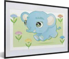 PosterMonkey Foto in lijst - Een illustratie van een baby olifant fotolijst zwart met witte passe-partout middel 60x40 cm - Poster in lijst (Wanddecoratie woonkamer / slaapkamer)