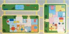 Blauwe JYG Speelkleed - Speeltapijt MY HOUSE 100x200cm - Veelkleurig vinyl pvc