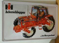 Rode Deco Noord International 1056 XL tractor trekker Reclamebord van metaal 30 x 20 cm GEBOLD BORD MET RELIEF METALEN-WANDBORD - MUURPLAAT - VINTAGE - RETRO - HORECA- WANDDECORATIE -TEKSTBORD - DECORATIEBORD - RECLAMEPLAAT - WANDPLAAT - NOSTALGIE -CAFE-
