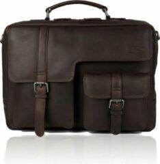 Donkerbruine Sparwell Tas - Kompatible Karraro - Aktetas - Laptop tas 15.6 Inch - 100% Leer - Schoudertas - Donker Bruin (Dames Tas / Heren Tas)