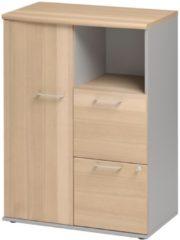 Gamillo Furniture Boekenkast Jazz 114 cm hoog in beuken met licht grijs