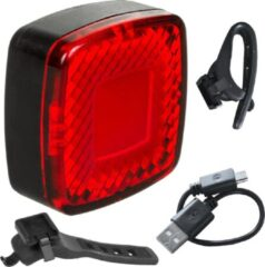Rode Maclean energy Maclean MCE355 - LED Fiets Achterlicht - 3 lichtmodi: SMART, 100% steady, Flash - Hoge helderheid: 125 lumen - 37x37x16mm