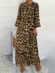 Newchic Leopard Print 3/4 Sleeve Plus Size Dress with Pockets