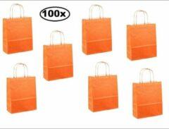 Thema party 100x Papieren koordtas oranje 18x8x22cm