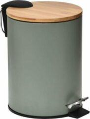 Gebor Stijlvolle Design Prullenbak met Bamboe deksel – Kaki/Bamboe – Klein formaat – 2.5L – Badkamer – Toilet – Keuken – Kantoor – Prullenbak 17x20x23cm