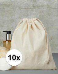 Beige Merkloos / Sans marque 10 x Sporttasjes met koord 25 x 30 cm - Bedrukbare sporttasjes