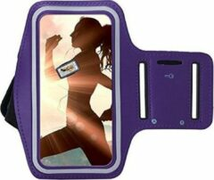 Samsung Galaxy A31 Sportband hoes sport armband hoesje Hardloopband Paars Pearlycase