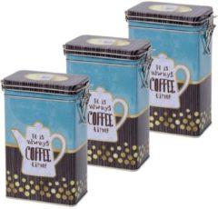 Merkloos / Sans marque 3x Blauwe rechthoekige koffieblikken/bewaarblikken 19 cm - Koffie voorraadblikken - Koffiepads/koffiecups voorraadbussen