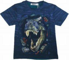 S&C Dinosaurus t-shirt - T-rex - blauw - maat 134/140