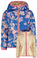 Vingino reversible zomerjas Taylin met all over print goud/hardblauw/roze