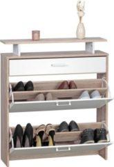 Wohnling Schuhschrank SAMO MDF Sonoma Eiche 80 cm Schuhregal Schuhkipper Design Schuh-Kommode modern Sideboard Schuhablage
