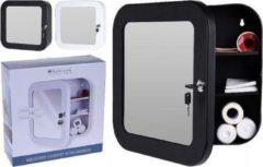 Zwarte Bathroom Solutions Medicijnkast Met Spiegel - Medicijnkast - spiegel - Veilig voor kinderen! - afsluitbaar - 2 sleutels