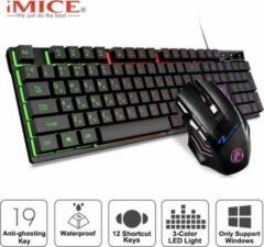 Origineel iMICE Gaming set AK-600 Bedraad USB Glow Backlit Gaming Keyboard, 2400 DPI iMice Muis - 6 knoppen - 4 RGB lichtmodes - Instelbare DPI (Zwart Set)