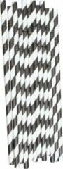 Witte Joyenco Papieren rietjes zwart gestreept - 50 stuks - duurzaam, 100% composteerbaar