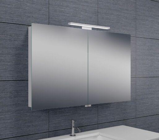 Afbeelding van Douche Concurrent Spiegelkast Larissa 100x60x14cm Aluminium LED Verlichting Stopcontact Binnen en Buiten Spiegel Glazen Planken