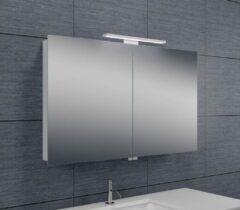 Douche Concurrent Spiegelkast Larissa 100x60x14cm Aluminium LED Verlichting Stopcontact Binnen en Buiten Spiegel Glazen Planken