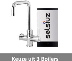 Kokendwaterkraan Selsiuz Haaks Chroom Inclusief Boiler (Keuze uit 3 boilers)