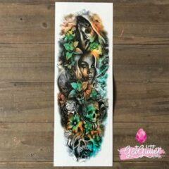 Groene GetGlitterBaby - Plak Tattoo Sleeve / Tijdelijke Tattoos / Nep Tatoeage - Bloemen en Doodshoofden