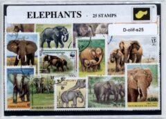 Transparante KLOMP G.T.P Olifanten - postzegelpakket cadeau met 25 verschillende postzegels