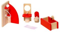 Rode Goki Poppenhuismeubeltjes: BADKAMER, douche H14cm, 5-delig