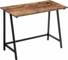 VASAGLE Computertafel, bureau, computer bureau, thuiskantoor, kantoor, studeerkamer, woonkamer, stal, ruimtebesparend, eenvoudig op te zetten, industrieel ontwerp, 100 x 50 x 75 cm, vintage, donkerbruin