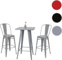 Heute-wohnen Set Stehtisch + 2x Barhocker HWC-A73, Barstuhl Bartisch, Metall Industriedesign