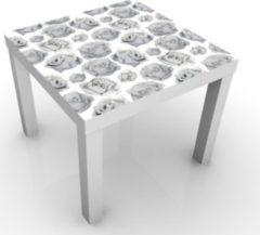 PPS. Imaging Beistelltisch - Realistisches Rosen Design - Tisch Grau... weiss, 55 x 55 x 45cm