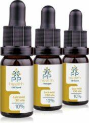PP Health - 3x CBD Olie Gold 10% - 1000mg - Nu tijdelijk 3 voor 2 actie - Full Spectrum van Hennep plant - 10 ml - Mild van smaak door aanmaak met biologische olijfolie