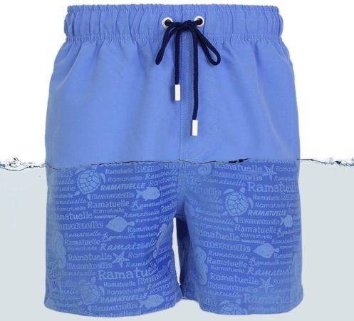 Afbeelding van Lichtblauwe Ramatuelle Zwembroek Heren - Magic print Zwembroek - Print zichtbaar zodra zwembroek nat wordt. - Maat M - Kleur Blauw / Indigo