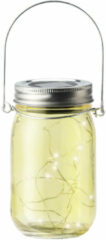 Blauwe Decoris Solar lamp pot met deksel geel glas 14 cm - Tuinverlichting Party/feestverlichting