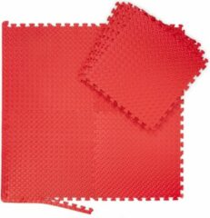 Rode Relaxdays 8x fitness mat set - vloermat - beschermmat - sportmat - puzzelmat - schuimstof