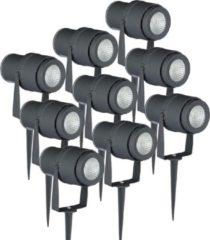Antraciet-grijze V-Tac LED Prikspots 9 stuks 12 Watt IP65 - 720lm - 4000K Neutraal Wit Licht - Waterdicht - Antraciet