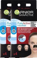 Zwarte Garnier Skinactive Face SkinActive PureActive Nose strips Charcoal - 2 x 4 Stuks - Tegen mee-eters, verstopte poriën en overtollig talg - Voordeelverpakking
