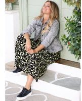 Gele Jersey jurk Janet & Joyce Limoengroen::Zwart