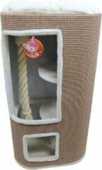 De Boon Krabpaal klimton sisal ovaal 2 gaten 100 cm taupe/creme