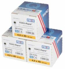 FEKO-Rapid Spaanplaatschroef geel verzinkt TX20 4x40mm (doos 200stuks)