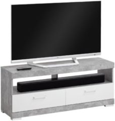 FD Furniture Tv-meubel Bristol 120 cm breed - Grijs beton met wit