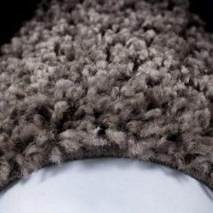 Himalaya Basic Rond Shaggy Kader vloerkleed Taupe Hoogpolig- 120 CM ROND